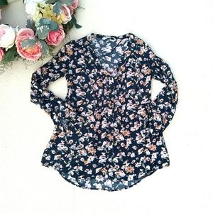 LC Lauren Conrad Floral Long Sleeved Button up top
